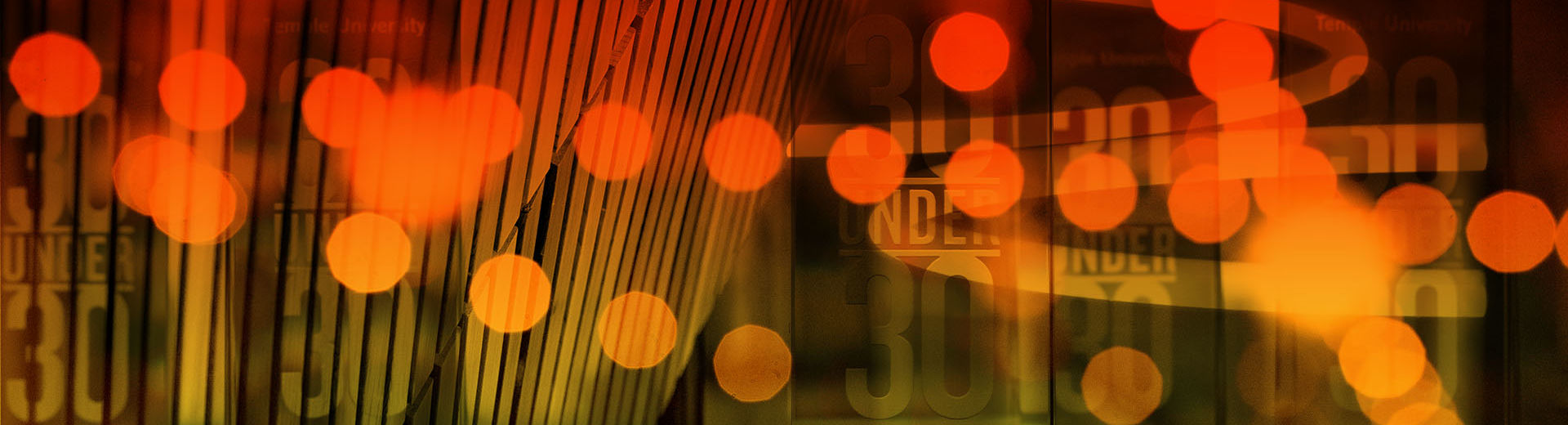 A compilation of Temple University-related abstract images with an orange tone.