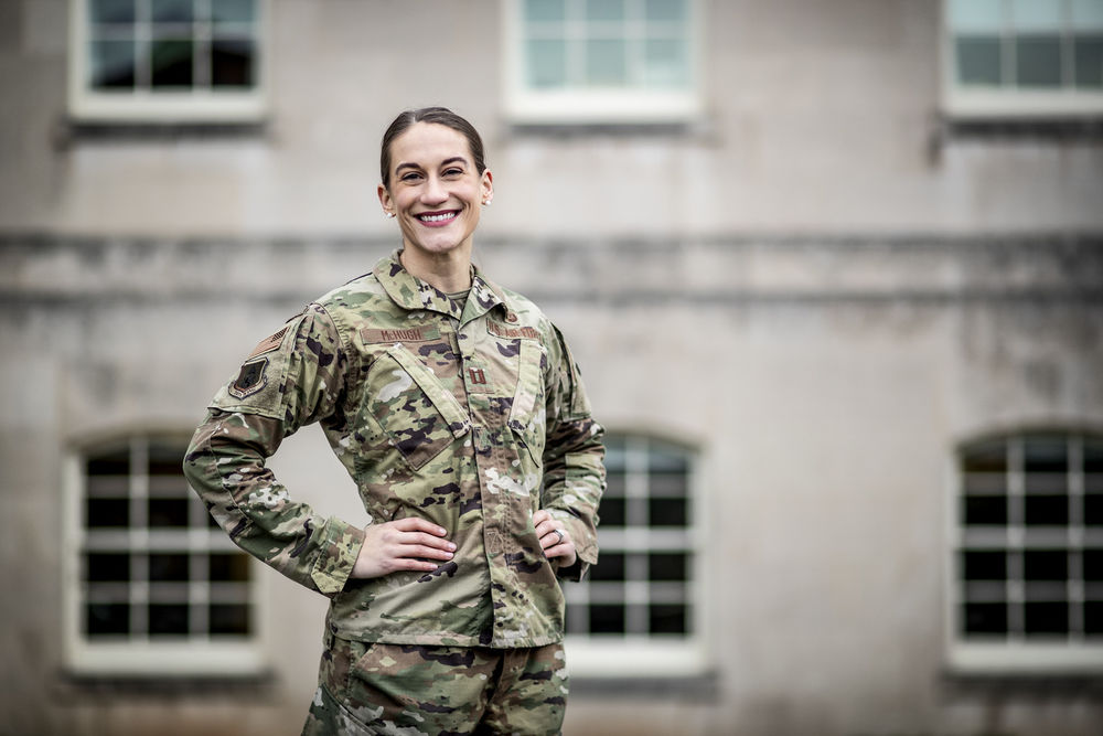 Amanda McHugh on the campus of the United States Court of Appeals for the Armed Forces.