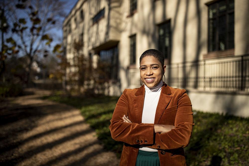 Jazmine Jackson standing outside of the Lowell School, in Washington, DC.